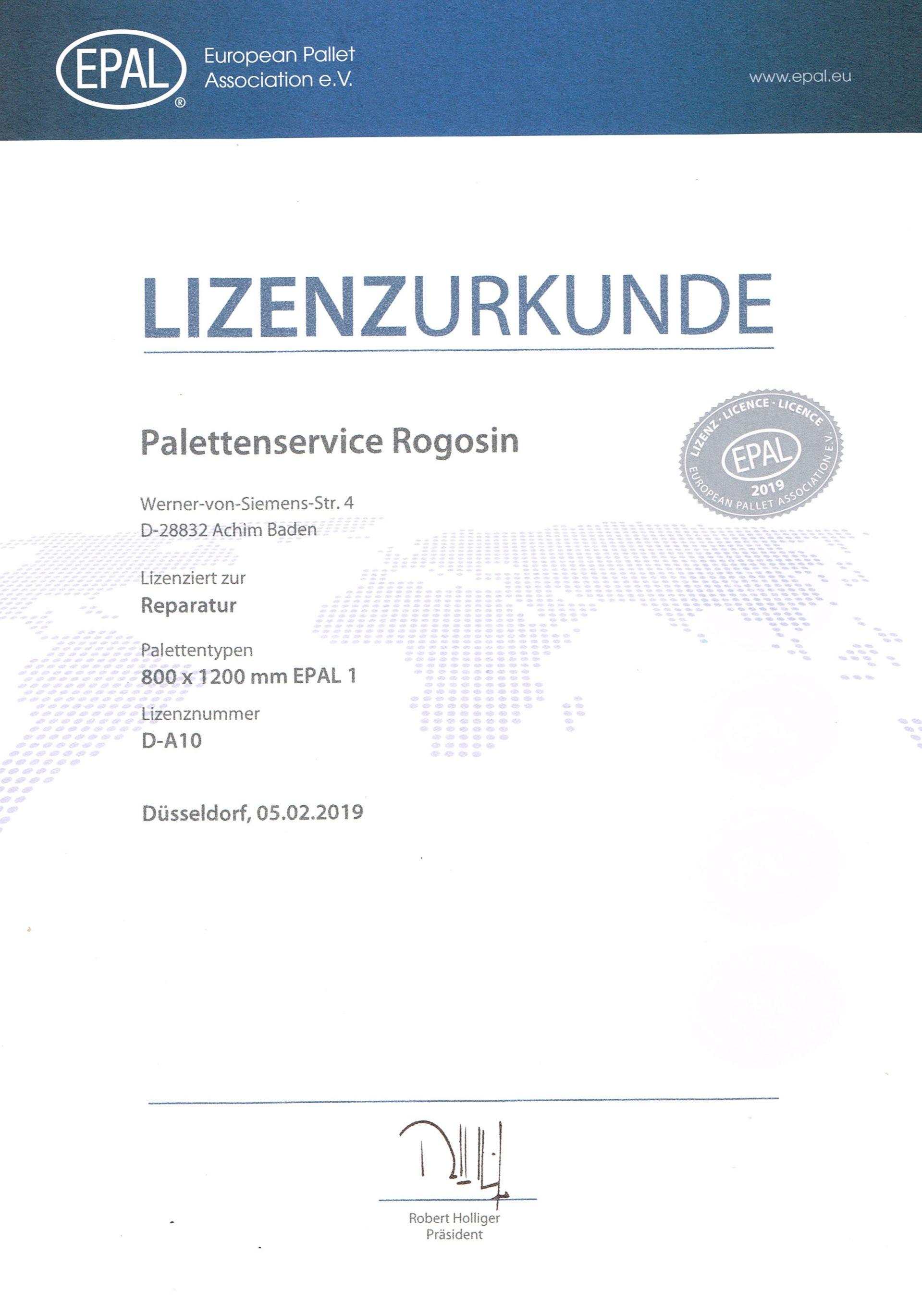 Lizenzurkunde des Palettenservice Nikolai Rogosin e.K.